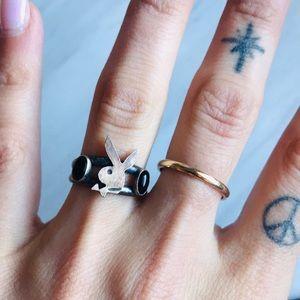 Jewelry - Playboy Bunny Onyx Ring Size 7